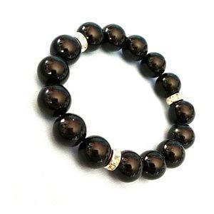 Glass Black Beads with Rhinestones Bracelet NWT